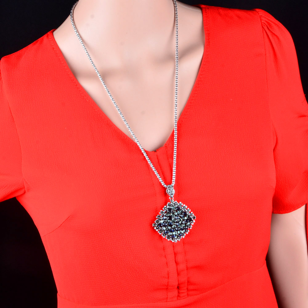 SINLEERY Vintage Fuld Mørkeblå Rhinestone Big Vedhæng Lang - Mode smykker - Foto 6