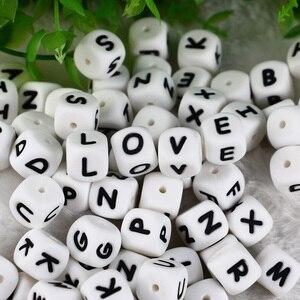 Image 3 - 100 adet alfabe silikon çiğneme boncuk diş çıkarma kolye gıda sınıfı BPA ücretsiz mektup DIY bebek adı bebek diş kaşıyıcı