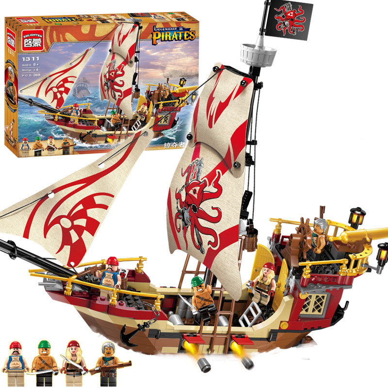 ENLIGHTEN 1311 Pirates of the Caribbean Marauder Corsair Boat DIY Assemble Model Building Blocks minifig Kids Toys Gift 1pc the hobbits lord of the rings knight diy figures assemble model diy building blocks sets kids educational toys gift xmas