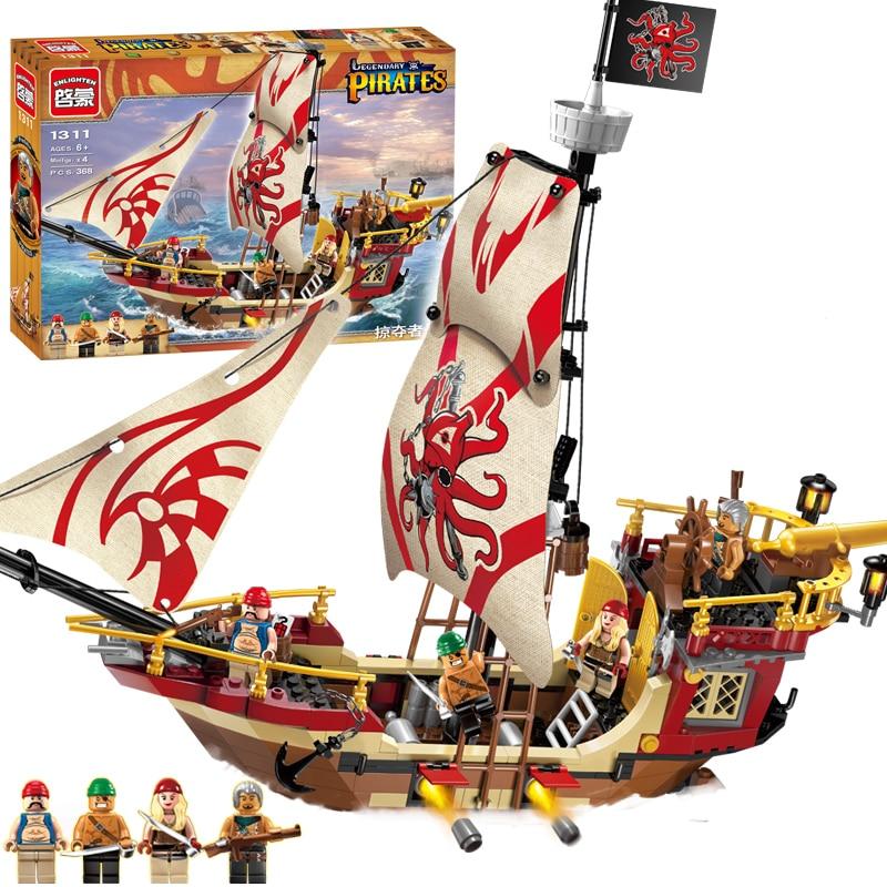 цена ENLIGHTEN 1311 Pirates of the Caribbean Marauder Corsair Boat DIY Assemble Model Building Blocks minifig Kids Toys Gift
