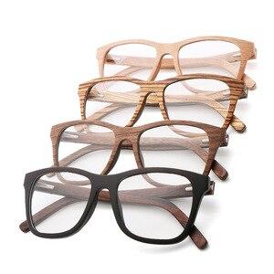 Image 1 - 100% 천연 나무 안경 프레임 남자에 대 한 목조 여성 광학 안경 케이스 56342 와 명확한 렌즈