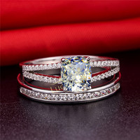Sterling Silver Jewelry 2 Carat NSCD Simulation Diamond Womens Wedding Rings Set Classic Jewelry 2014 Engagement