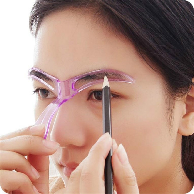 Fashion Women  Eyebrow Stencils Shaping Grooming Eye Brow Make Up Template Reusable Design Beauty Tools