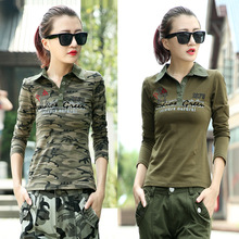 2017 spring cool casual women camouflage polo shirt long sleeve military green slim women polo femme shirts plus size brand polo