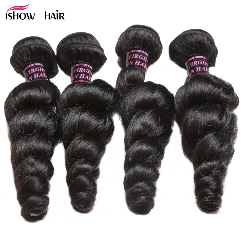 Ishow Hair Indian Loose Wave 4 Bundles Human Hair Weave Bundle Non-Remy Hair Extensions Natural Black Double Weft No Shedding