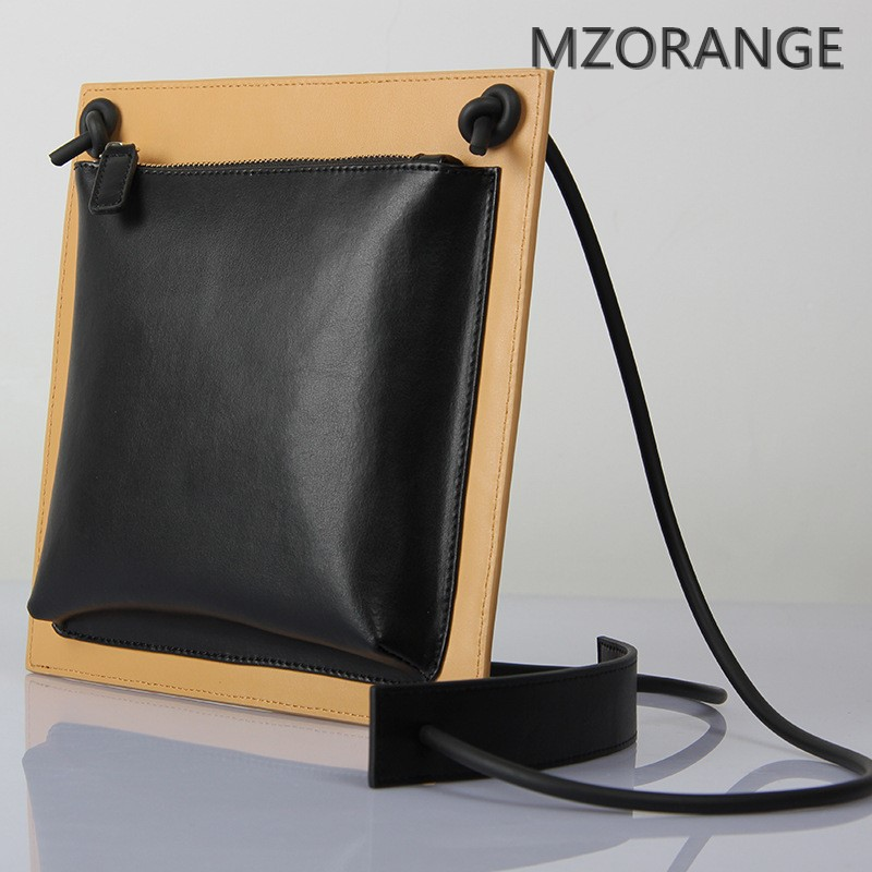 MZORANGE New genuine leather simple Flap bag 2018 women handbag fashion unique design shoulder bag Cowhide women Crossbody bags 2018 novelty genuine leather box shape crossbody bag for women small black cowhide one shoulder bag lady unique design handbag