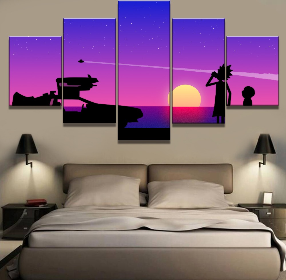 Modular 5 Piece Home Decor Wall Art Rick And Morty Paintings on Canvas for Decorations Framework