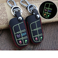 Real Leather Car Key Cover Luminous Key Case Car Accessories for Jeep Renegade Wrangler Grand Cherokee 2015 Compass Car-styling