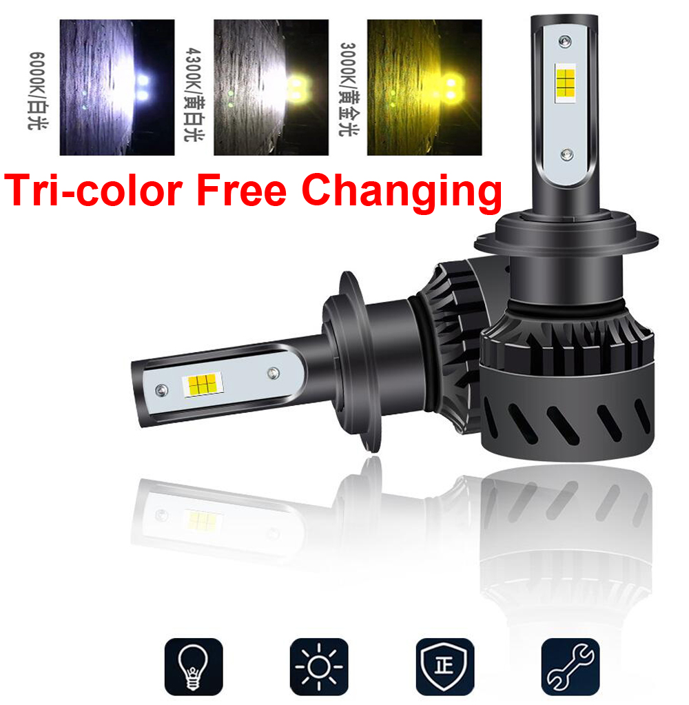 2PCS H7 Tri color 3 Color Changing K9 LED Headlight H1 H3 H4 H8 H9 H11 9005 9006 9012 3000K Golden Yellow 4300K 6000K White Fog in Car Headlight Bulbs LED from Automobiles Motorcycles