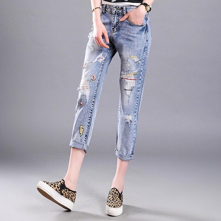 64b074448ee9e Primavera Verano nueva Vaqueros mujeres tobillo-longitud straight Mediados  de cintura Vaqueros señora ripped suelta moda Pantalones más tamaño