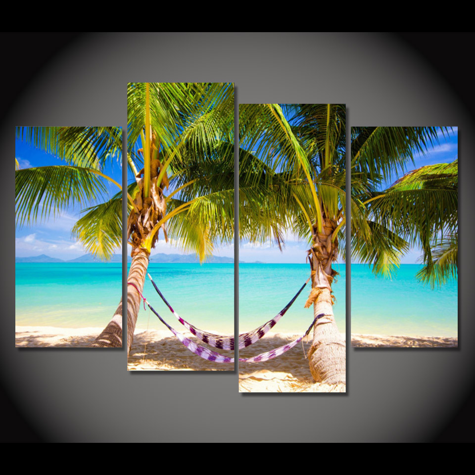 Home Decor 4 Pieces Canvas Paintings Printed Tropical Beach Hammock Wall Art Print Canvas Painting Home Decor For Living Room We323