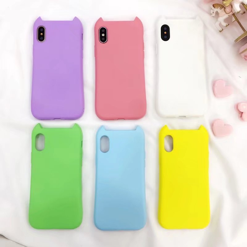 Liquid silicone phone protective case for iPhone X 8 7 6s plus cat ears solid color mobile phone shell for iPhone X 8 7 6s plus