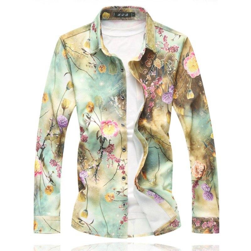 Image 3 - Мужская рубашка с длинным рукавом, Свободная Повседневная рубашка  с отложным воротником, большие размеры, осенние мужские рубашки с  цветочным узором 7XL 6XL M, 2020mens floral shirtshirt 7xlcasual  shirt men