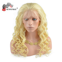 Sunnymay Indian Virgin Hair Full Lace Human Hair Wigs #613 Color Loose Wave Pre Plucked Lace Wigs With Baby Hair