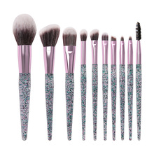 Rhinestone Crystal Glitter Makeup Brushes Set 10pcs Foundation Brushes Blending Concealer Make Up Brush Set Brush Gift