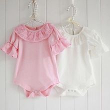 Cute Newborn Baby Girls Lace Collar Bodysuit Jumpsuit Playsuit Clothes toddler girl clothing