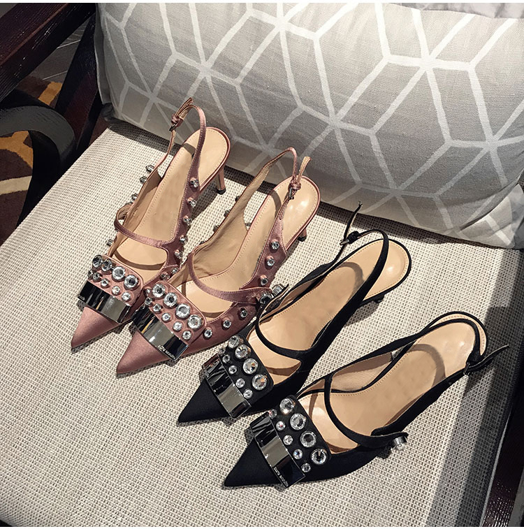Svonces European 2018 Sand Black Silk Mary Jane Shoes Slingbacks Vintage  High Heel Pumps Crystal High Heeled Wedding Shoes Women-in Women s Pumps  from Shoes ...