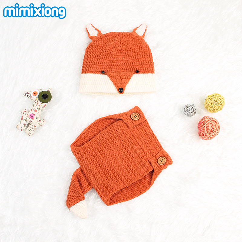 Cartoon Fox Newborn Photography Props Suit Autumn Grey Animal Pattern Infant Toddler Baby Knitting Beanie Cap Cover Outfits 2pcs newborn crochet baby fox orange costume photography props knitting baby hat bow infant baby photo props