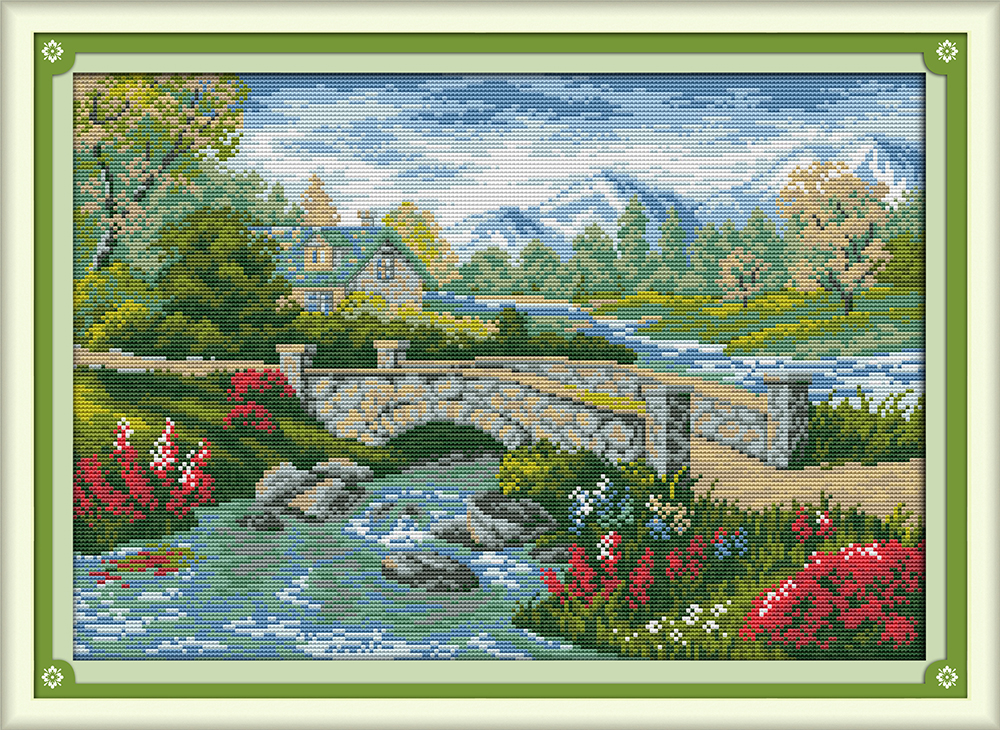 Bridge River decor painting counted or printed on canvas DMC 11CT 14CT kits chinese Cross Stitch embroidery needlework Set