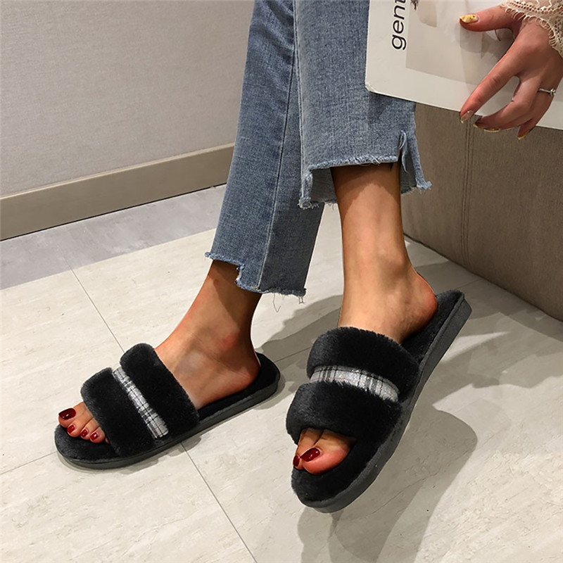 Women Winter Plaid Shoes Flat Sweet Plush Home Room Slippers Woman Indoor Fur Warm Soft Slip On Flip Flop Female Slipper #40