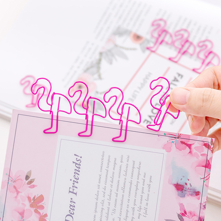 5 Pcs/lot Cute Lovely Pink Flamingo Paper Clips Metal Mini Girl's Clip Office Memo Clip For Photo Ticket File School  Supplies