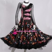 Standard Ballroom Dance Dresses Adult High Quality Custom Made Long Sleeve Competition Tango Waltz Ballroom Dancing Dress Women