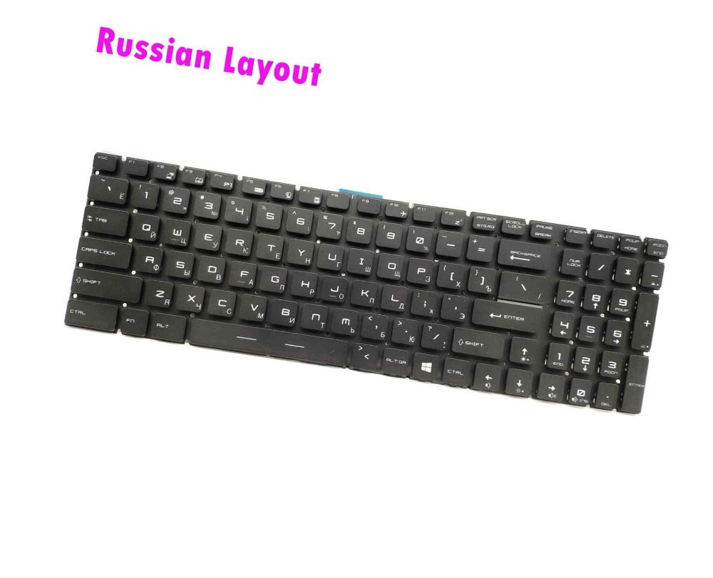 New Russian RGB Colorful Backlit keyboard for MSI Gaming GE62VR 6RE GE62VR 6RF GE62VR 7RF Apache