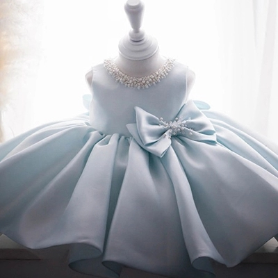 Newborn Baby Girl Gown for Baptism Christening Birthday Infant Dresses Beaded Tulle Bow party Prom Toddler
