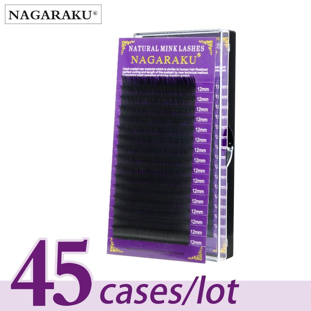 NAGARAKU 45cases set 16rows faux mink eyelash extension fake eyelashes false eyelashes make up tools for