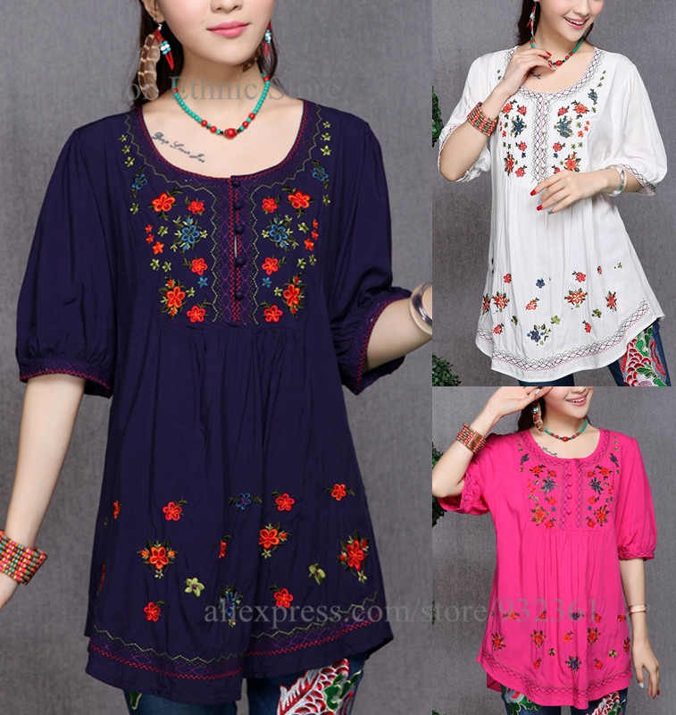 Get Quotations · Plus fertilizer xl women fat mm spring dribbling embroidered  shirt blouses and long sections loose shirt