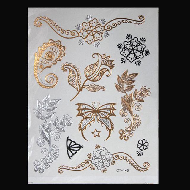 Hot Flash Metallic Waterproof Temporary Tattoo Henna Flower Taty Design Tattoo Sticker