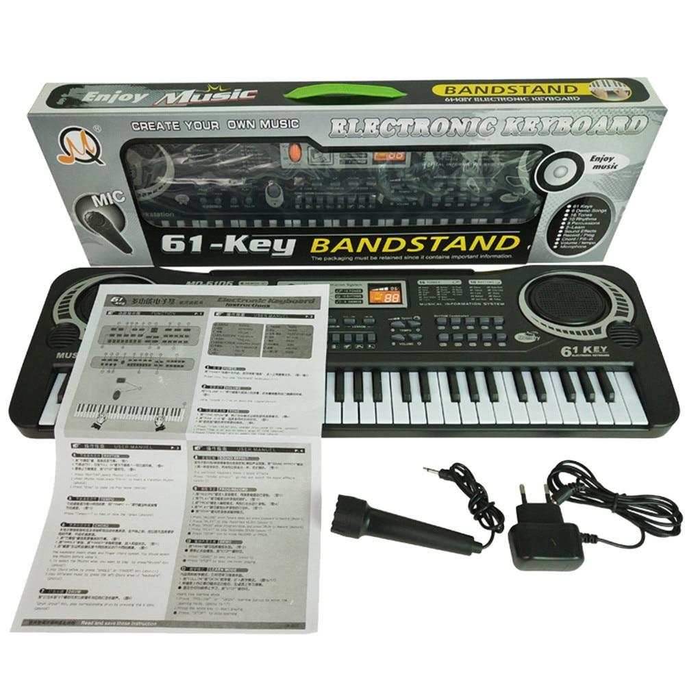 61 Keys Black Digital Music Electronic Keyboard Key Board Electric Piano Kids Gift Musical Instrument Electric Piano Gift EUA522