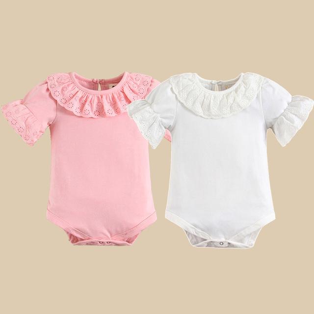 Mais recente Bebê Bonito Bodysuit Terno Do Corpo Do Bebê Para Bebê Recém-nascido Macacão Ser Flutter Mangas Bebê Roupas de Menina
