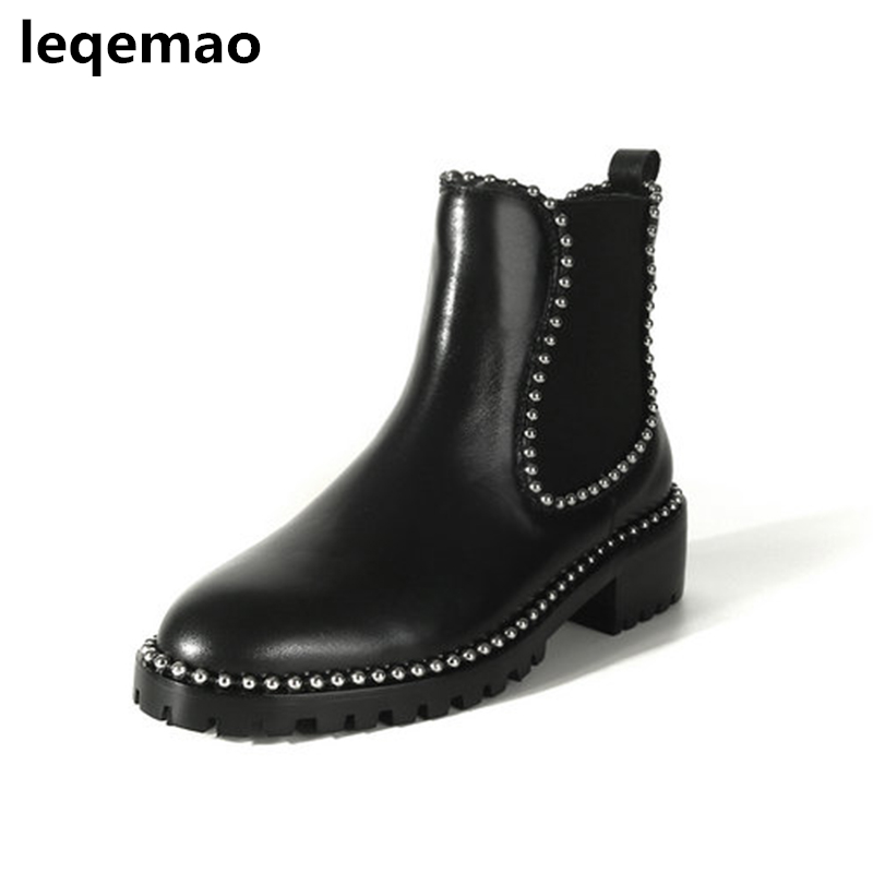 New Winter Ankle Boots For Women Shoes Fashion Soft Genuine Leather High Quality 3cm Heels Martin Boots Women Casual Shoes 34-41 2017 new anti slip women winter martin