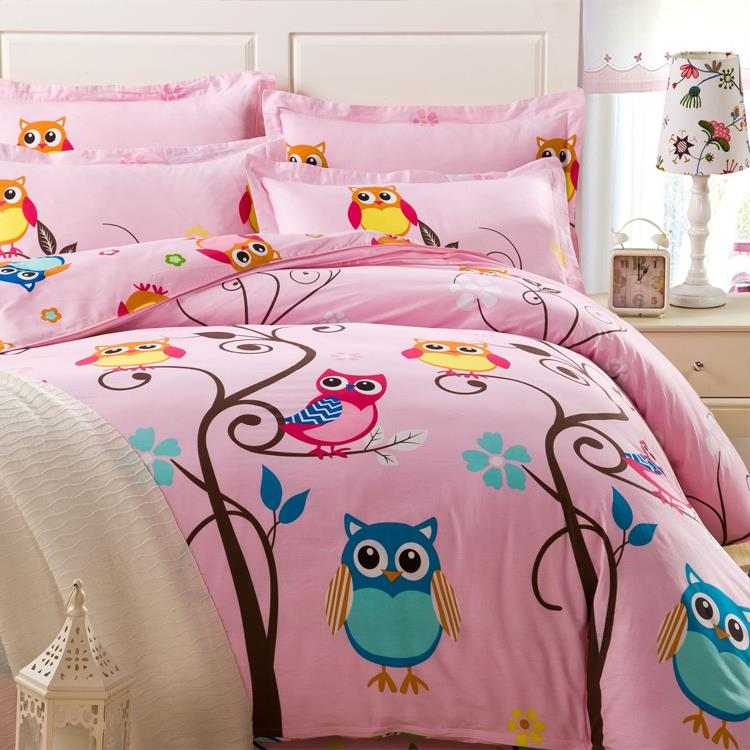 rose mignon hibou de bande dessin e ensemble de literie adultes enfants couette couette. Black Bedroom Furniture Sets. Home Design Ideas