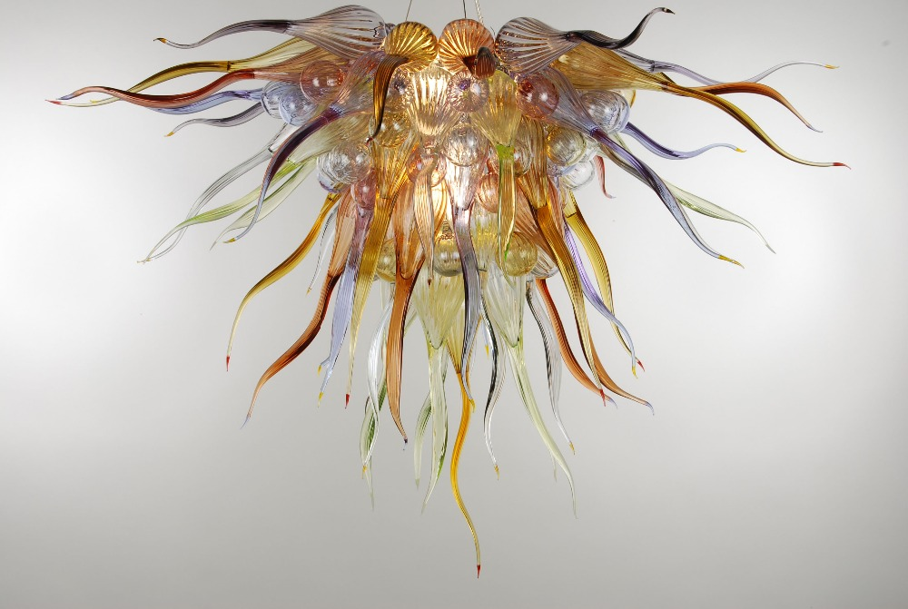 Chandeliers Contemprary Amber Table Top Chandeliers Chihuly Style Led Light 100% Hand Blown Glass Chandelier Lighting-lr416 Shrink-Proof