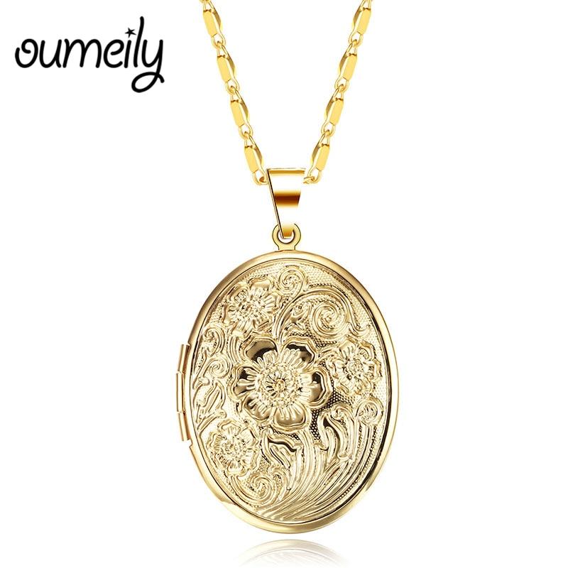 OUMEILY Necklaces&Pendants Photo Frame Memory Locket Pendant Necklace Gold Silver Color Chain Vintage Women Jewelry Necklaces locket