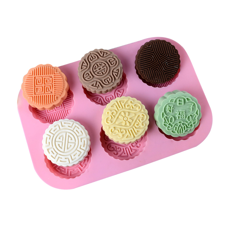 6 Holes Silicone Soap Mold Moon Cake Shape For Chocolate Candy Making Mould