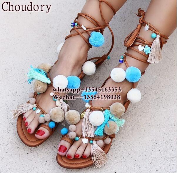 2019 Women flats stones Pom poms strappy sandals multi color summer gladiator sandals lace up fringed flats sandals free ship