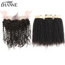 HANNE Hair 8A Малайзийские лиловые кудрявые связки для волос Расширения с кружевами Фронтальные младенцы и отбеленные узлы 13x4 Ухо для ушей Закрытие
