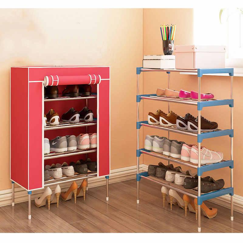 Модные минималистичные нетканые домашние туфли Органайзер полка современный шкаф для обуви 5 слоев Многоцелевой обуви стойки