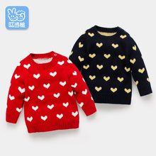 Dinstry Children's sweater girls Heart pattern tops spring and autumn 2018 new bottoming shirt(China)