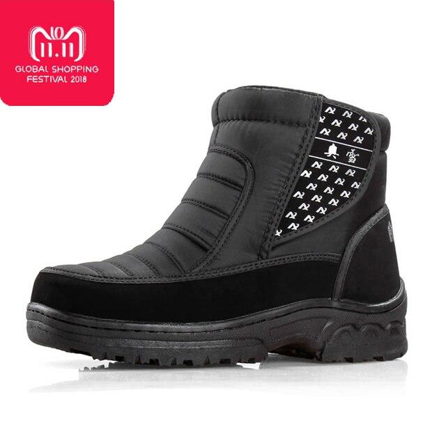 남자 부츠 2018 새로운 도착 겨울 신발 방수 비 슬립 남자 발목 스노우 부츠 플랫폼 두꺼운 플러시 부츠 크기 36-45