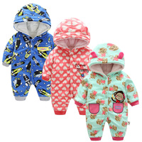 Kids Winter Overalls For Girls 2017 Newborn Clothes Infant Cartoon Baby Boys Hooded Rompers Thicken Warm