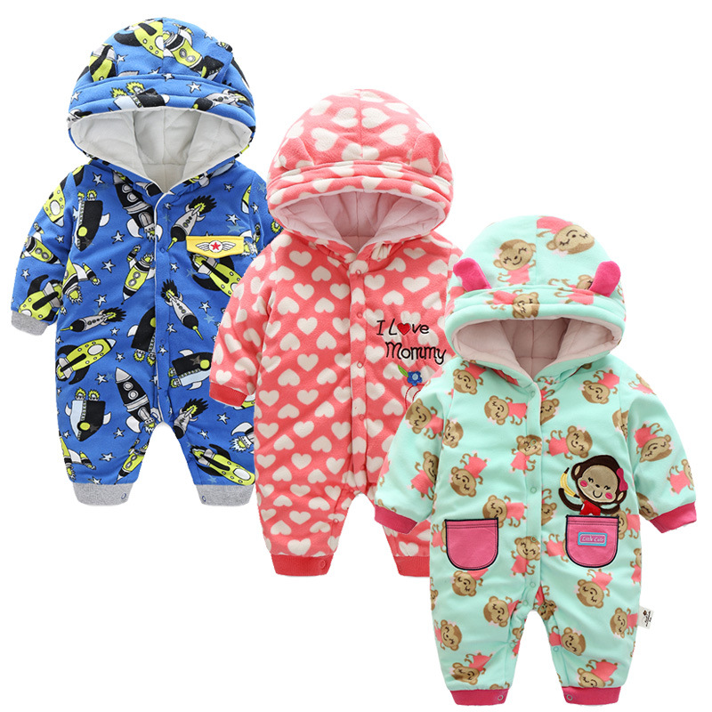 Kids Winter Overalls For Girls 2017 Newborn Clothes Infant Cartoon Baby Boys Hooded Rompers Thicken Warm Cotton Baby Snow Suits unisex baby rompers cotton cartoon boys girls roupa infantil winter clothing newborn baby rompers overalls body for clothes