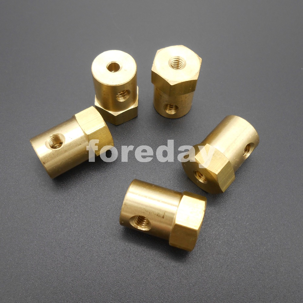 2X 7mm Flexible Motor Brass Shaft Hex Coupling Coupler w// Wrench for Tyre Wheel