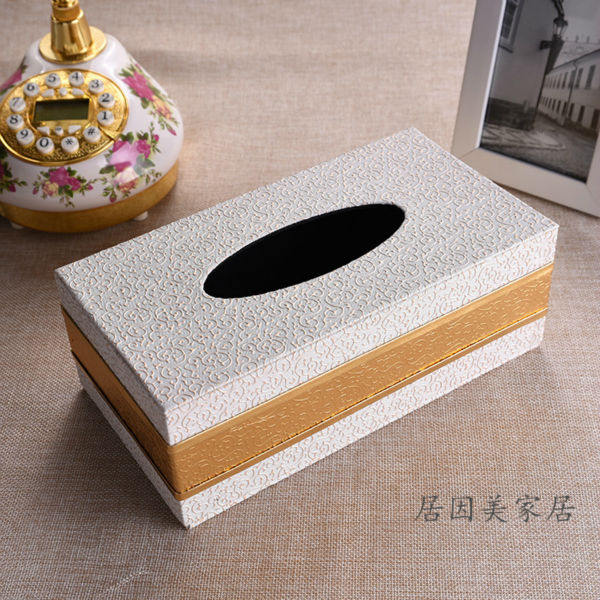 Luxury Rectangle Pu Leather Pumping Table Tissue Box