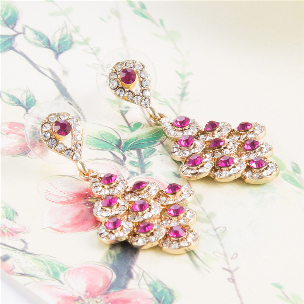 Christmas Gifts 4.2 Cm crystal Bride Drop Earings Vintage Wedding Earrings Gold-color Top Quality Brinco Statement Jewellery