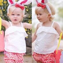 Платье для малышки, платье для маленькой девочки без рукавов футболки топы Летняя Блузка на бретелях топы, блузки летние Одежда для малышей