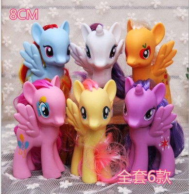 6pieces size : 8cm little pvc Action Toy Figures Hobbies Unicorn horse plush doll for girls and boys little pieces платье little pieces модель 28949119
